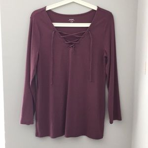 Old Navy women's long sleeve lace up shirt